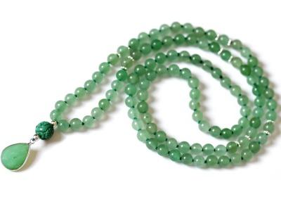 GREEN HARMONY Perlen-Mala grüne Jade grüner