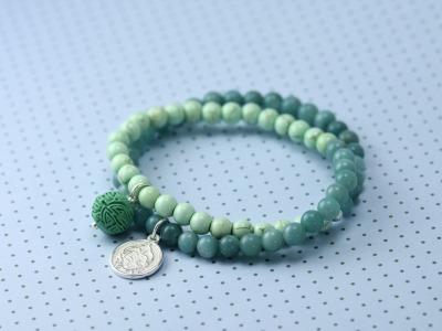 OCEAN CLARITY Zweireihiges elastisches Edelstein-Armband mit