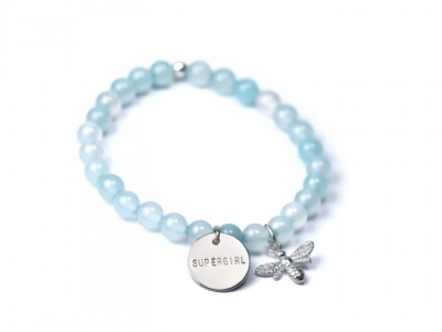 Gemstone Armband mit Charmanhänger Namens- Geburts-
