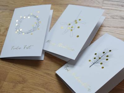 tingletangle Christmas Card Gold 3er Set - 3 Klappkarten mit Umschlaegen