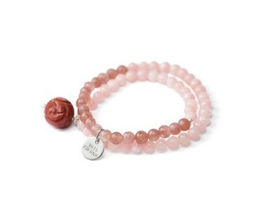 ROSE HARMONY Zweireihiges elastisches Edelstein-Armband mit