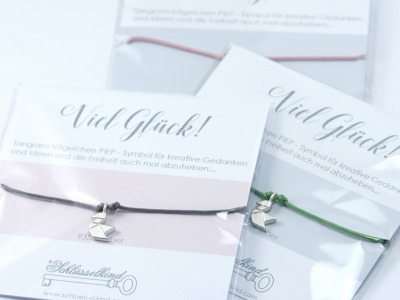 VÖGELCHEN - Tangram Kette oder Armband, 935 Silber, auf Wunsch vergoldet - Symbol für kreative Gedanken und Ideen und die Freiheit auch mal abzuheben, ein wunderbares Geschenk für einen lieben oder geliebten Menschen.