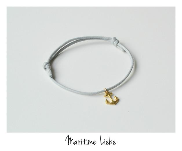 Grey Armband Anker 925 Silber vergoldet