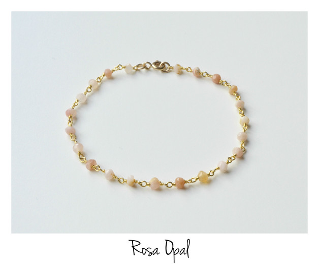 So zart Rosa Opal Armband vergoldet