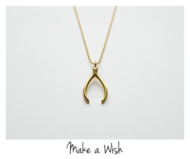 Make a Wish Kette Wishbone vergoldet