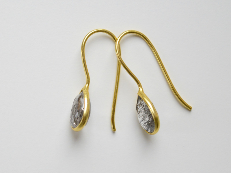 Feminin Zarte Rutilquarz Ohrringe vergoldet 925