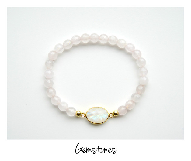 Unikat Rosenquarz Mondstein Armband vergoldet