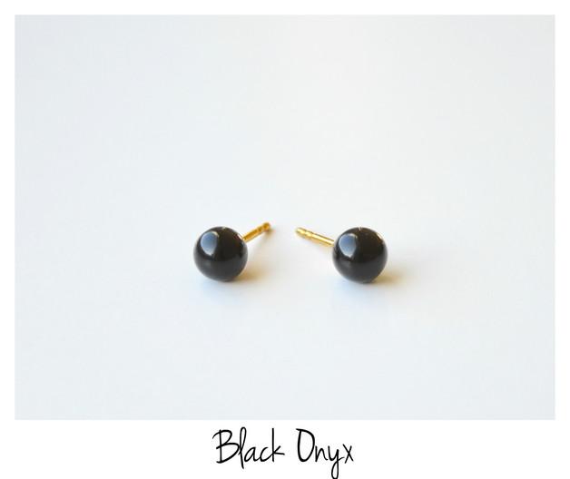 Black Schwarzer Onyx Ohrstecker vergoldet