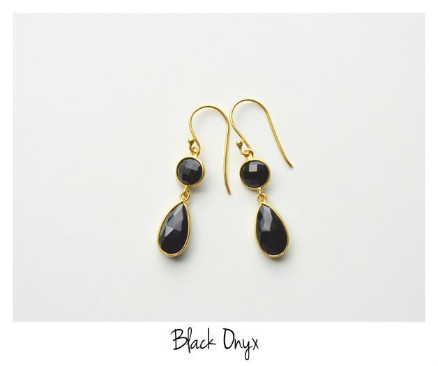 Deluxe Black Onyx Ohrringe vergoldet 925 Silber