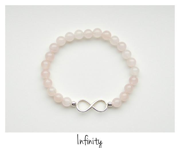 Infinity Rosenquarz Armband Silber