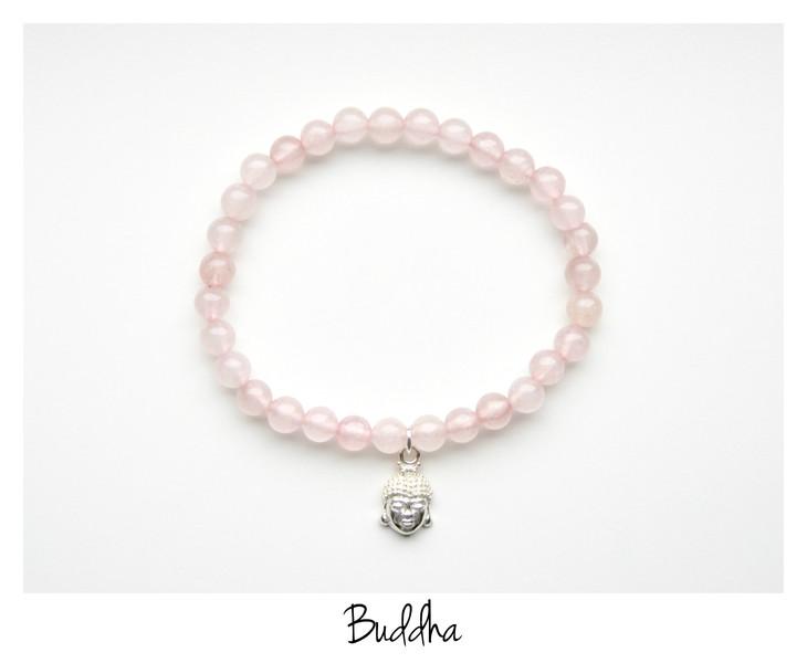 Buddha Rosenquarz Armband Silber