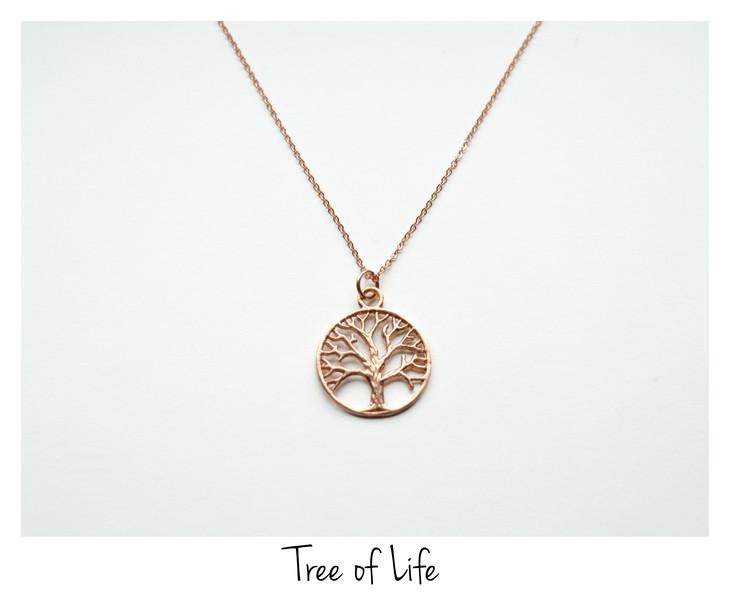Tolle Kette Tree of Life ros vergoldet