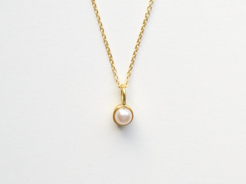 So zart Tiny Pearl Kette vergoldet