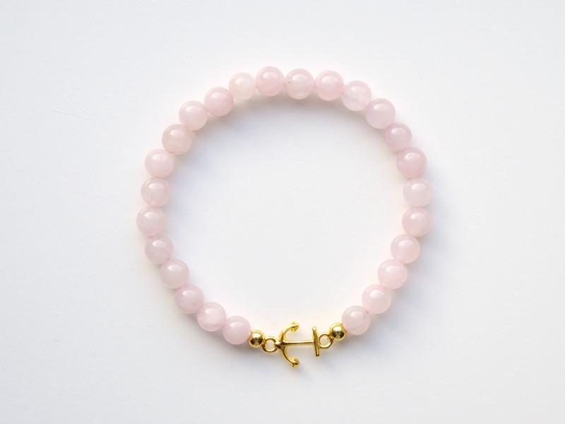 Maritim Rosenquarz Armband Anker vergoldet