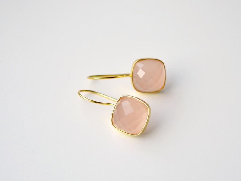 Deluxe Rosa Chalcedon Ohrringe vergoldet