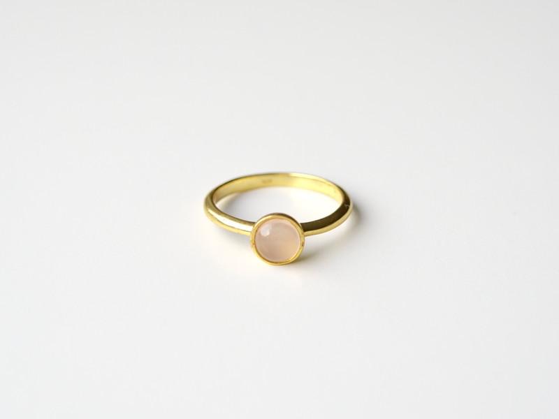 So schoen Rosa Chalcedon Ring vergoldet