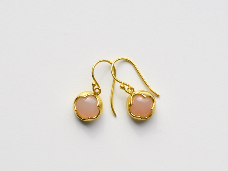 Gluecksklee Rosa Chalcedon Ohrringe vergoldet