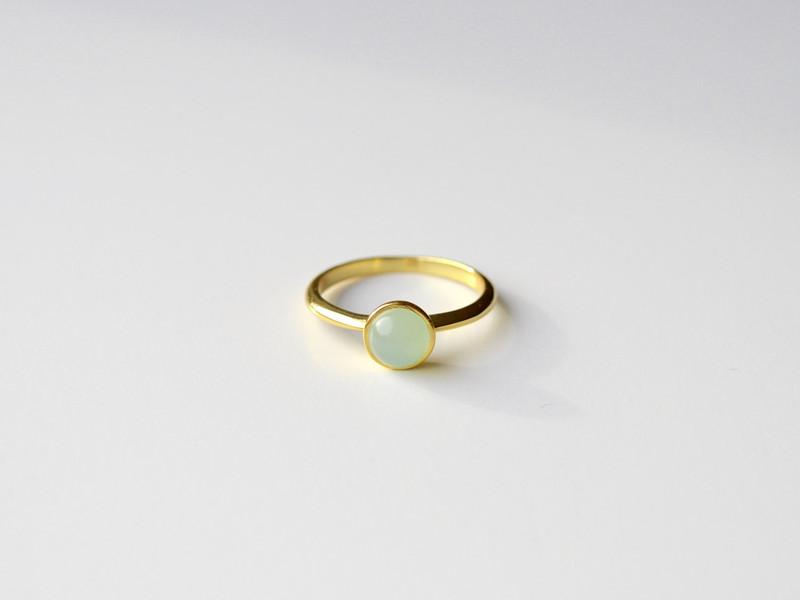 Deluxe Edler Aqua Chalcedon Ring vergoldet