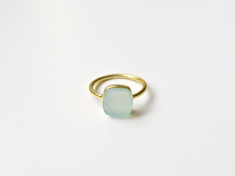Square Dot Aqua Chalcedon Ring vergoldet