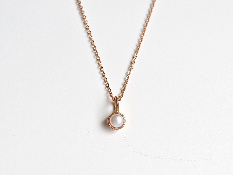 So zart Tiny Pearl Kette ros vergoldet