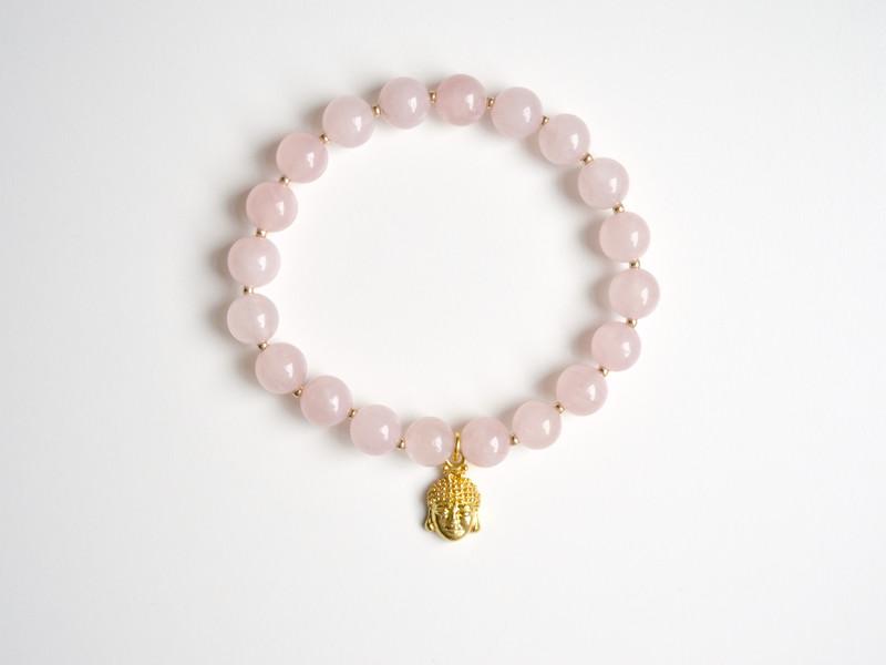 Buddha Rosenquarz Armband vergoldet