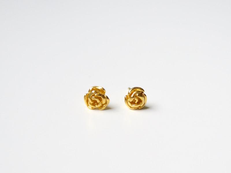 Einzelpaar Ohrstecker Roses vergoldet 925