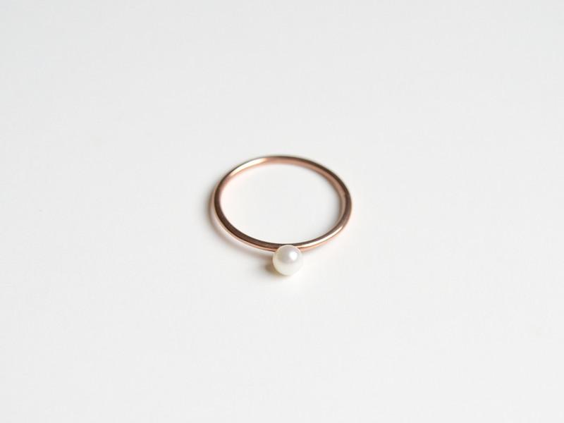 Zart Ring Pearl ros vergoldet
