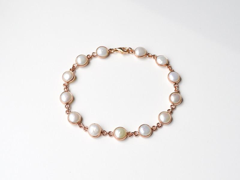Unique Perlen Armband ros vergoldet