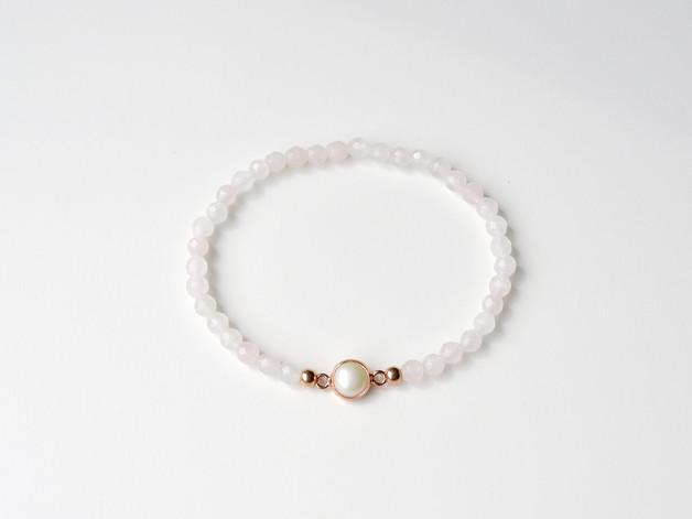Sag ja Rosenquarz Perlen Armband ros vergoldet