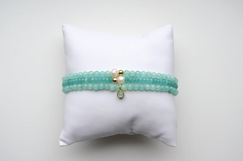 Aqua Armband mit Perle vergoldet