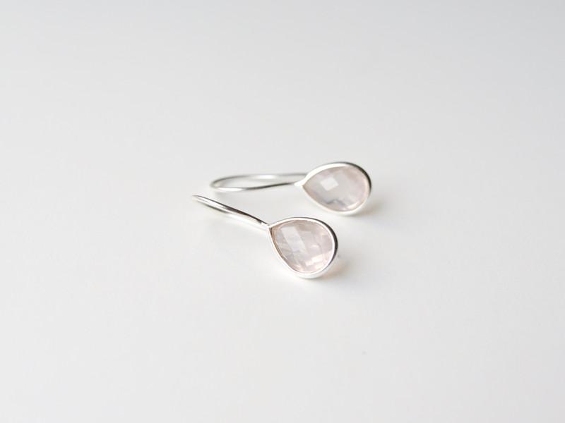 Feminin Zarte Rosenquarz Ohrringe 925 Silber