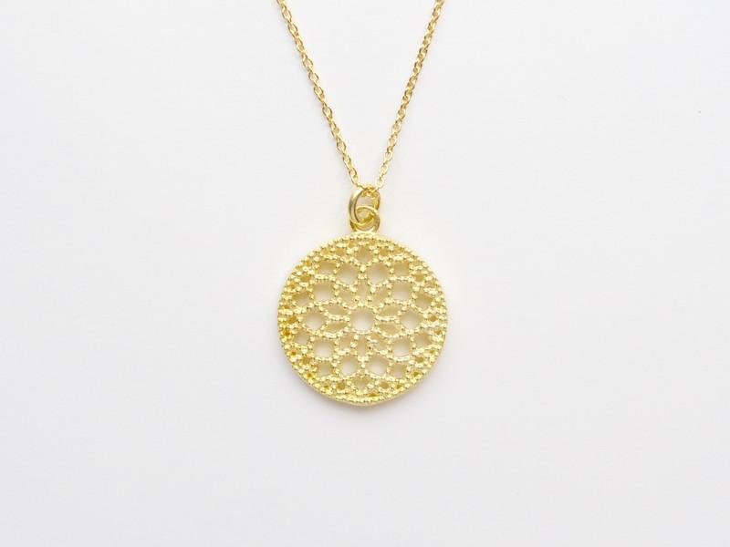Gluecksbringer Mandala Kette vergoldet