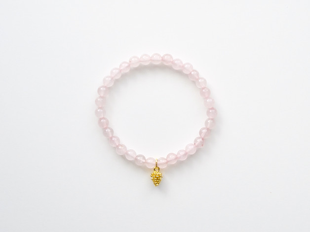 Herbstliebe Armband Rosenquarz Pinecone
