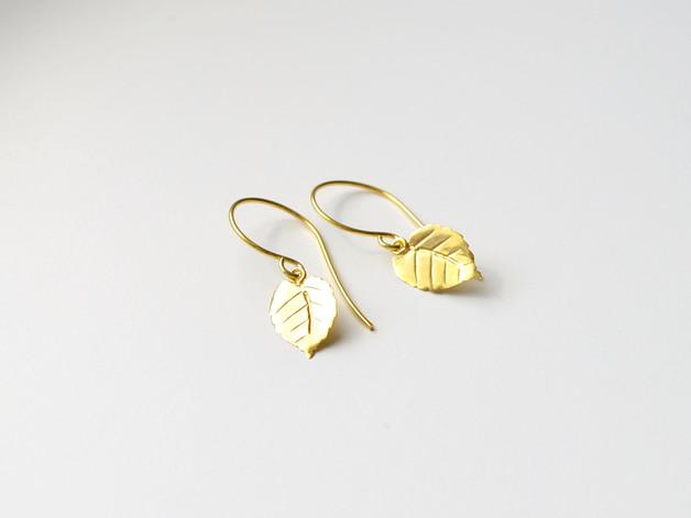 Herbstliebe Zarte Ohrringe Leaves II vergoldet