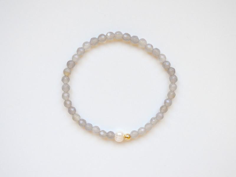 Edel Grauer Achat Perle Armband vergoldet