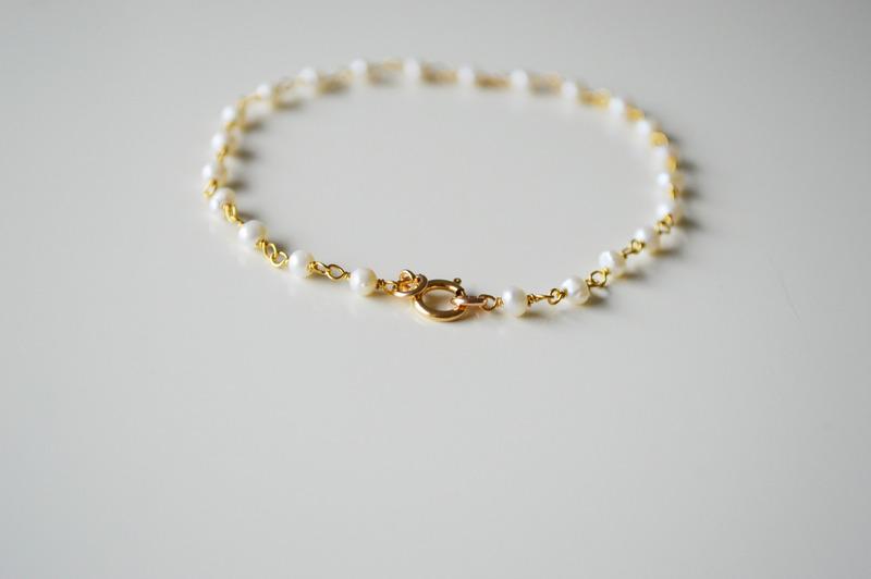 So zart Perlen Armband 925 Silber vergoldet