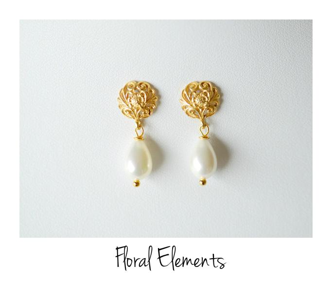 Florale Ornamente Perlen Ohrstecker vergoldet