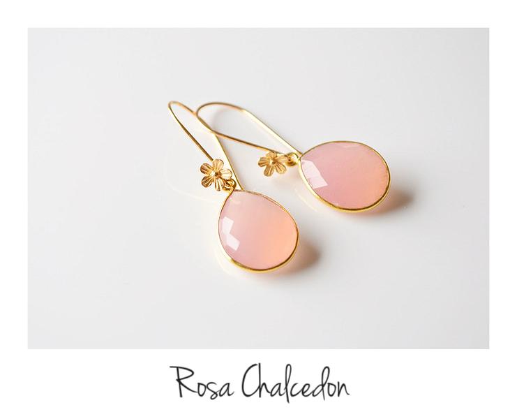 Flowers Rosa Chalcedon Ohrringe vergoldet