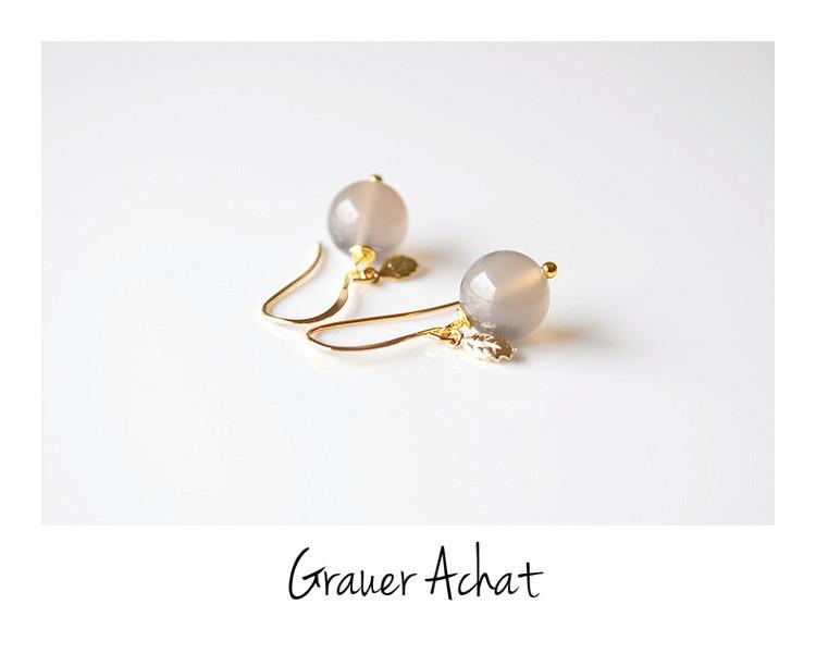 Grey Grauer Achat Blaettchen Ohrringe vergoldet
