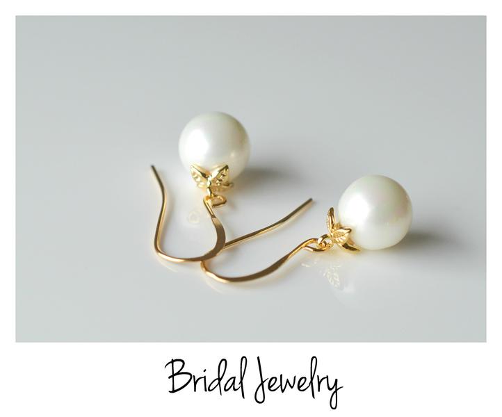 Sag ja Romantische Perlen Ohrringe vergoldet