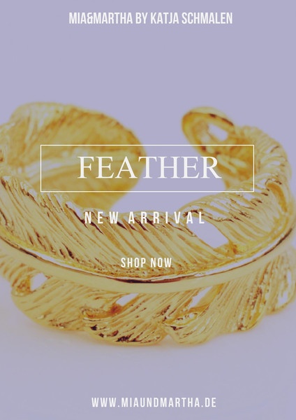 Trend 2017 Ring Feather vergoldet