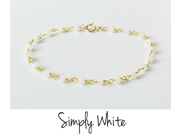 Pur White Achat Armband vergoldet