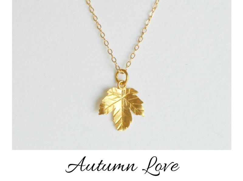 Herbstliebe Zarte Kette Leaf 1 vergoldet