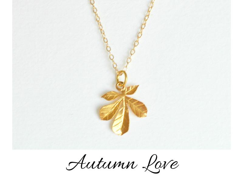 Herbstliebe Zarte Kette Leaf 2 vergoldet