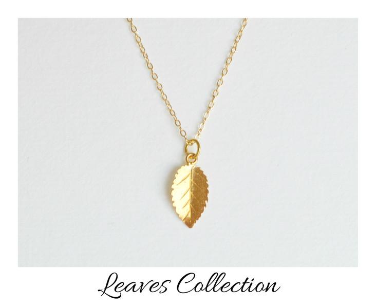 Herbstliebe Zarte Kette Leaf 3 vergoldet