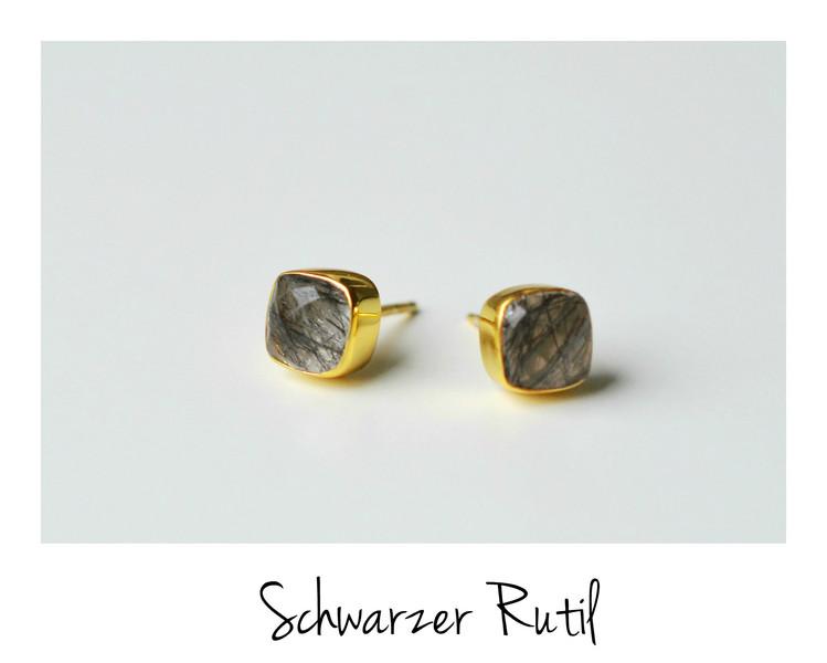Unikat Schwarzer Rutil Ohrstecker vergoldet