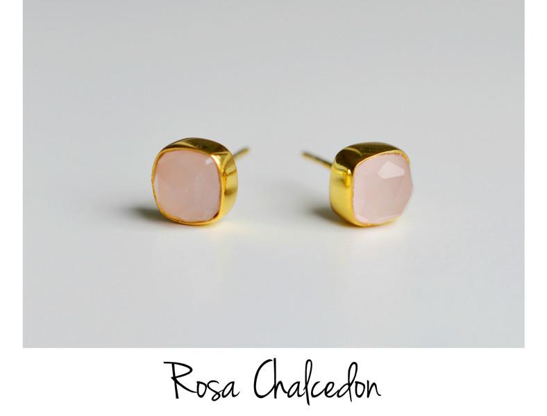 Deluxe Edle Rosa Chalcedon Ohrstecker vergoldet