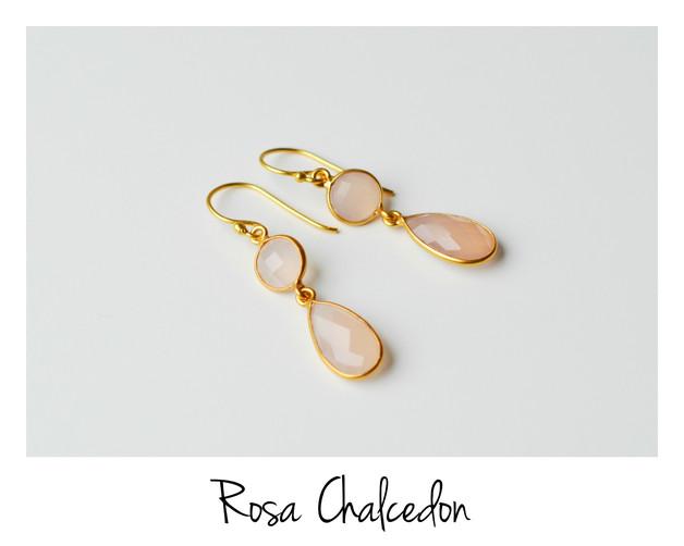 Deluxe Rosa Chalcedon Ohrringe vergoldet 925