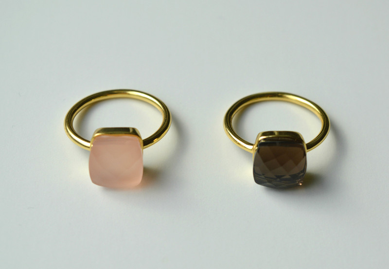 Square Dot Rosa Chalcedon Ring vergoldet 925