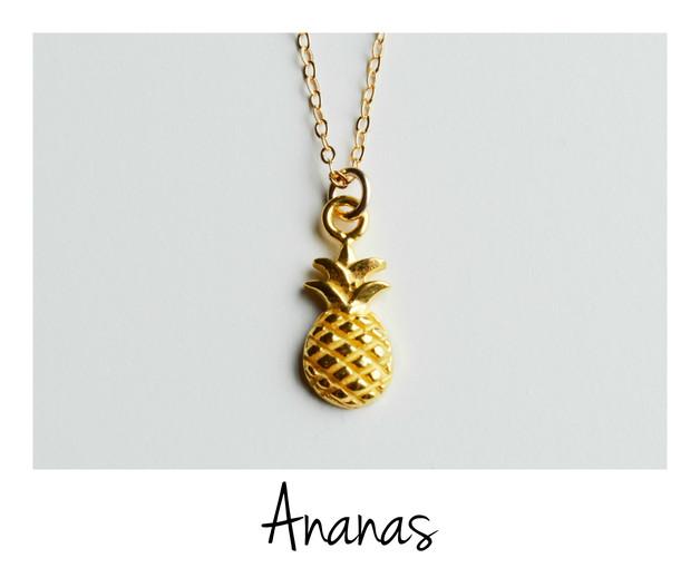 Pineapple Zarte Kette Ananas vergoldet
